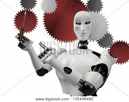 cyber robot holding screwdriver - 3D rendering background