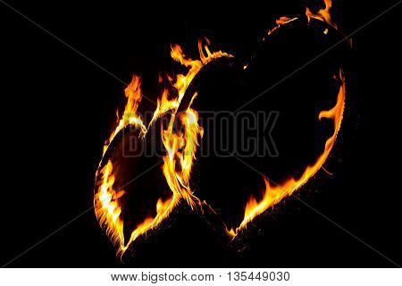 Fire heart full of power and energy. Red orange burning heart shape symbol for Valentine's Day.