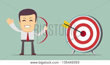 Contact business ideas right on target, winning business concept, vector illustration