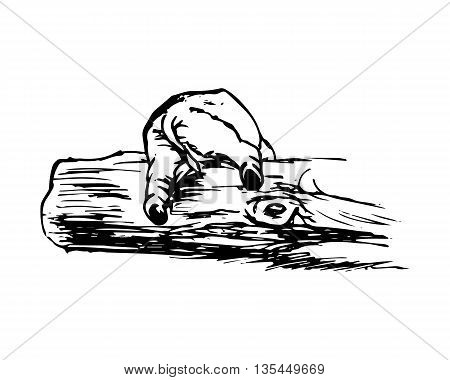 A graphical image of a funny elephant. Figure abstraction - the elephant can't climb over a log. Vector illustration on white background