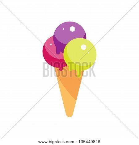 Flat ice cream cone illustration. Street sweet dessert icon. ice-cream vector. Isolated cartoon strawberry creme white background. Street fast food