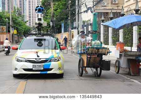 BANGKOK,THAILAND - JULY 16: A Google Map car on view in central Bangkok as the internet giant announces the Thai capital has been added to its Street View utility on July 16,2013 in Bangkok,Thailand.