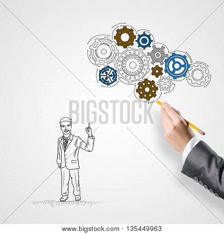 Hand drawing with pencil businessman and teamwork concept on white background