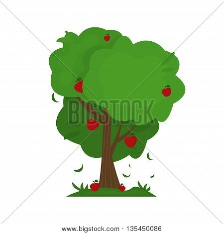Illustration Of Cartoon Abstract Apple Tree. Vector