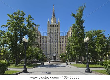MOSCOW, RUSSIA - MAY 31, 2016: View one of the Stalinist skyscrapers known as the Kudrinskaya Square Building Built in 1948-1954 years