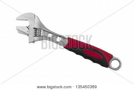 Adjustable wrench with scale on a white background