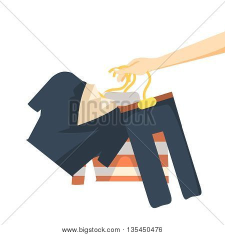 Hand holding clothes hang on a shelf vector illusration