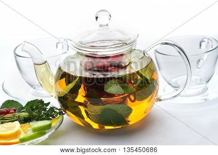 Fruit Tea With Mint Leaves In A Teapot
