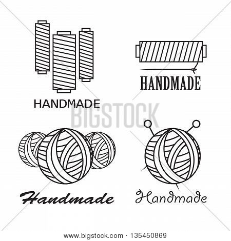 Handmade black thin line icons on white background. Handmade workshop logo set eps10