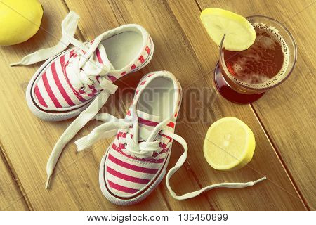 overhead of pair of summer shoes for child