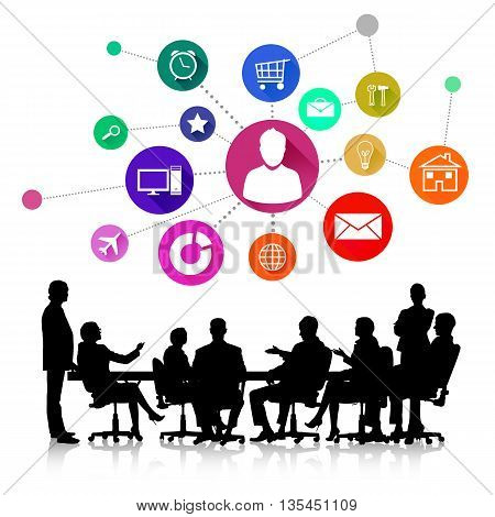 Group of business people silhouettes and colorful application icons isolated on white background