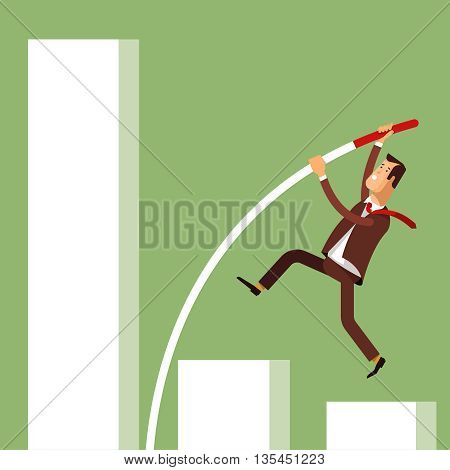 Businessman doing pole vaulting for success. Vector illustration concept businessman achieving success