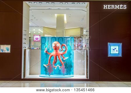 LAS VEGAS - JUNE 14 : Exterior of a Hermes store in Las Vegas strip on June 14 2016. Hermes is famous luxury brand existing since 1837.