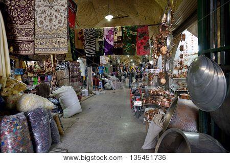 SHIRAZ - APRIL 14: Market (Vakil Bazaar) in Shiraz Iran on April 14 2015. Vakil Bazaar is the most important tourist attraction in Shiraz Iran.