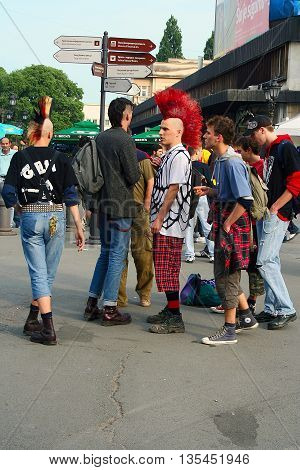 NOVI SAD, SERBIA, AUGUST, 2007. - Young punk rockers standing in the street