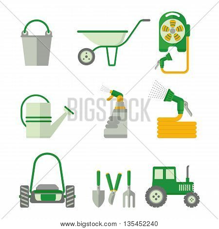 Set of farmer tools. Objects isolated on background. Flat and cartoon vector illustration.