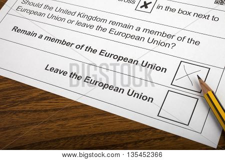LONDON UK - JUNE 13TH 2016: The EU Referendum Ballot Paper with a cross next to the option for the UK to Remain a member of the European Union taken on 13th June 2016.