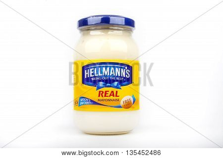 LONDON UK - JUNE 16TH 2016: A new jar of Hellmanns Mayonnaise on 16th June 2016.