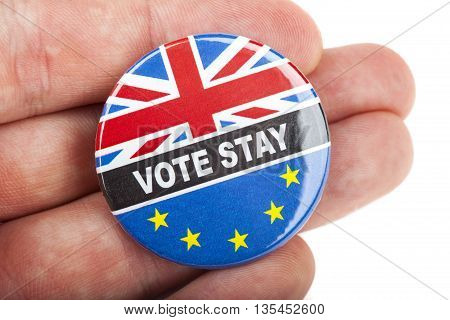 LONDON UK - JUNE 16TH 2016: A Vote Stay pin badge - referring to the upcoming Referendum on the UK's membership in the European Union taken on 16th June 2016.