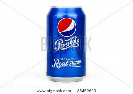 LONDON UK - JUNE 16TH 2016: A can of Pepsi Cola over a plain white background on 16th June 2016. The product is produced and manufactured by PepsiCo in the USA.