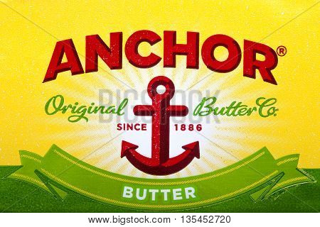 LONDON UK - JUNE 16TH 2016: Close-up shot of the Anchor Butter logo on 16th June 2016. Anchor is a brand of dairy products that was founded in New Zealand in 1886