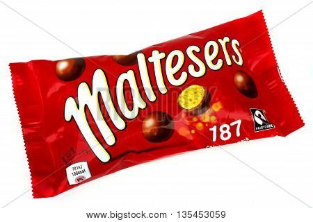 LONDON UK - JUNE 16TH 2016: A pack of Maltesers over a plain white background on 16th June 2016. Maltesers are a confectionery product manufactured by Mars Incorporated.