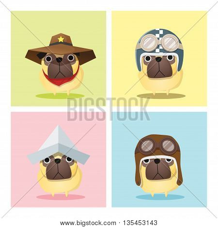 Set of dog in cute costumes , vector , illustration