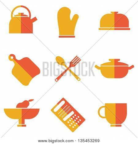 Set of kitchen utensils icons. Cartoon flat vector illustration. Objects isolated on a white background.