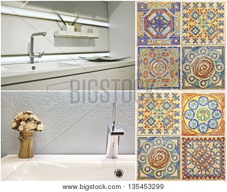 Set. Modern style of washbasin in the bathroom and the kitchen, and Portuguese tile