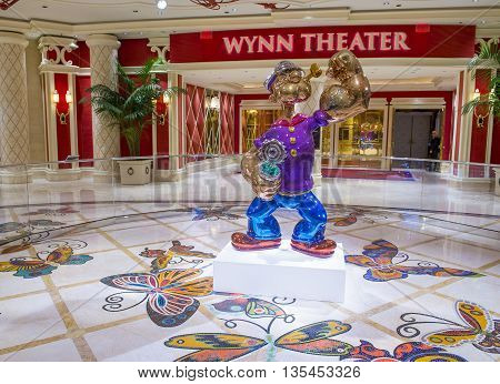 LAS VEGAS - May 21 : The Jeff Koons Popeye Sculpture display at the Wynn Hotel in Las Vegas on May 21 2016. The sculpture purchased by Steve Wynn in May 2014 for $28.1 million dollars