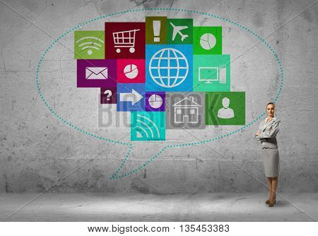 Businesswoman and color application icons at background