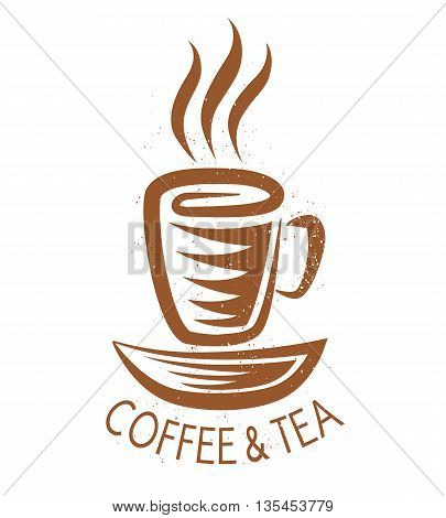 Vector vintage logo for cafe with coffee cup