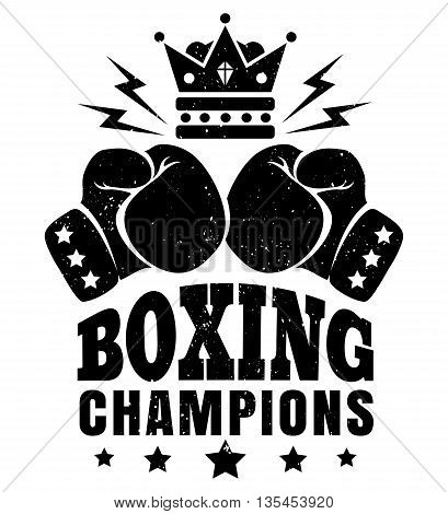 Vector vintage sport logo for boxing with gloves