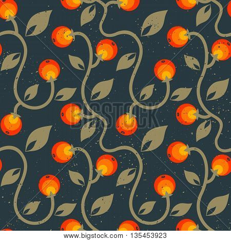 Vector seamless color floral pattern with berries