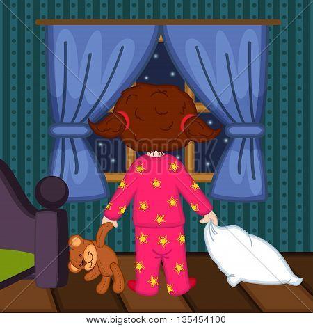 girl looks at night sky in window - vector illustration, eps