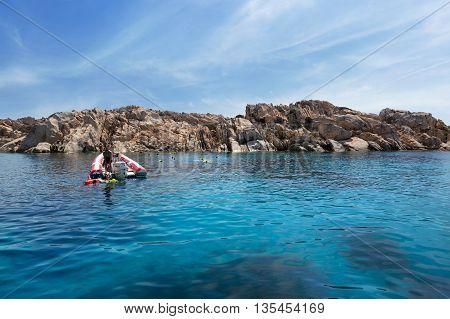 CAPRERA SARDEGNIA/ITALY - JUNE 29 2015: Scuba Diving in Beautiful Bay of Cala Coticcio in Caprera Island Sardinia Italy
