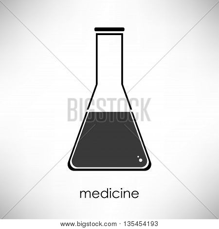 Flat linear beaker icon. Isolate on white background. Medicsine and science. Chemistry and biology. Flask.