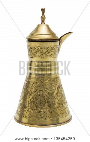 Antic gold engraved metal golden vessel for tea or coffee with opening lid in oriental style on isolated background.
