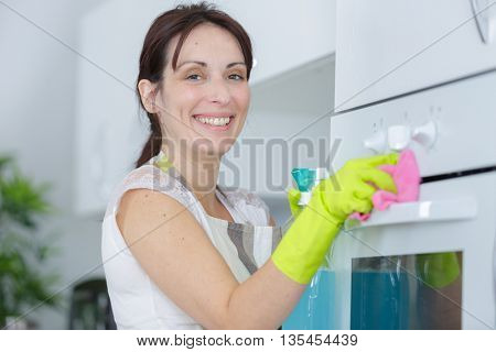 female cleaning