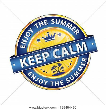 Keep calm and enjoy the summer - - glossy label / ribbon / button