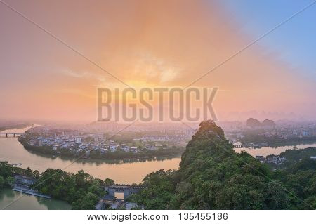 Landscape of Guilin, Li River and Karst mountains. Located near Yangshuo County, Guangxi Province, China.