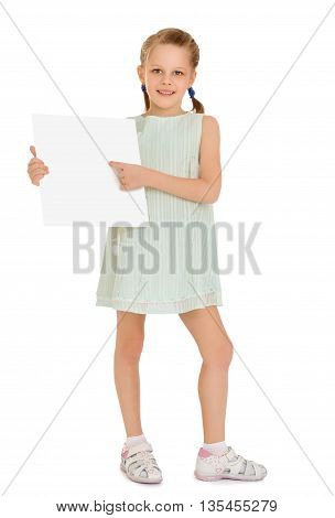 Fun a small, thin girl in a short dress, holding a banner and pointing at him the finger - Isolated on white background