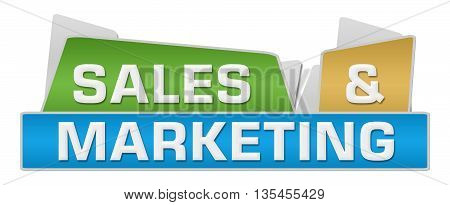 Sales and marketing text written over colorful background.