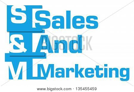 Sales and marketing text written over blue background.