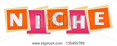 Niche text alphabets written over pink orange background.