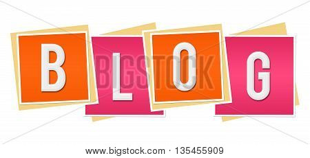 Blog text alphabets written over pink orange background.