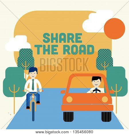 Two men riding a bike and driving a car. Share the road. Transit laws. Traffic rules.