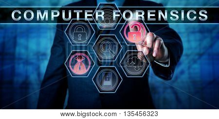 Male crime investigator is pushing COMPUTER FORENSICS on an interactive virtual control screen matrix. Business metaphor. Computer security procedure and information technology audit concept.