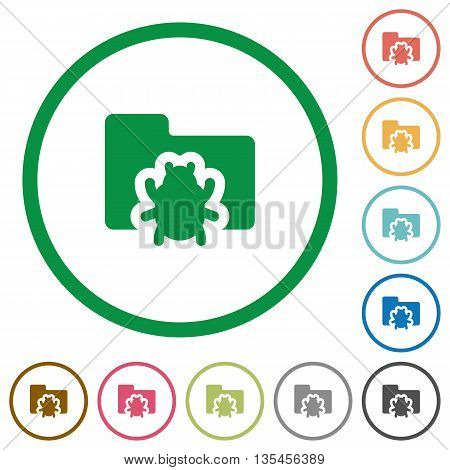 Set of bug folder color round outlined flat icons on white background