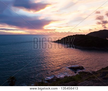 Dark seascape with sky storm and cloud in color of the sunset and twilight